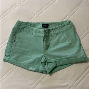 American Eagle Mint Stretch Midi Cuffed Shorts